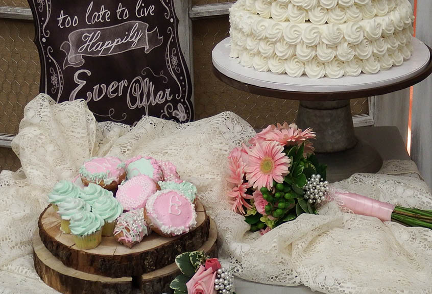 Wedding Cake and decorated donuts