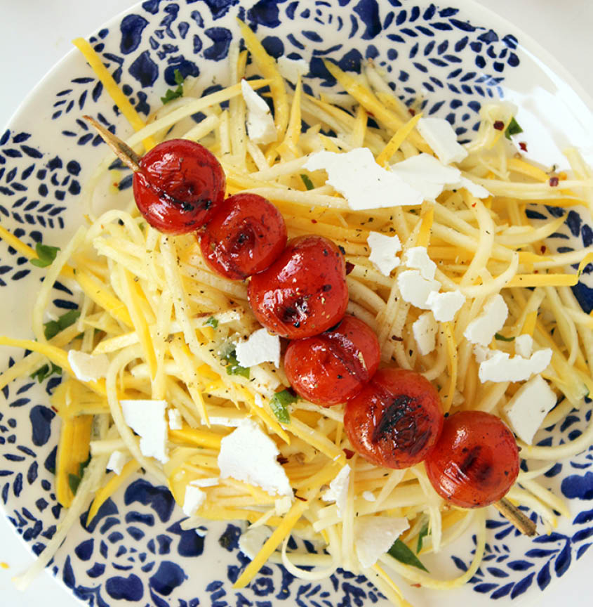 Yellow squash with ricotta and grilled tomatoes